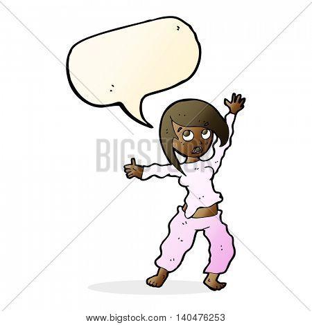 cartoon frightened woman with speech bubble