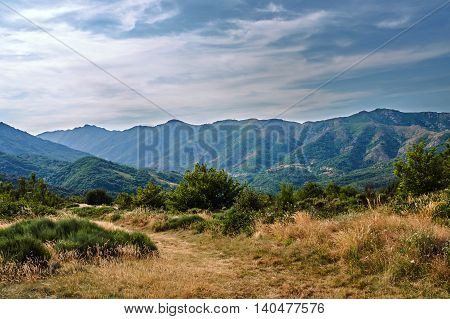 Pass and valley in the mountains of the Massif Central in France