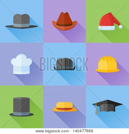 Set of hats flat icons with long shadow. Safety helmet, bowler, top hat, graduation cap, chef, gangster, tourist, cowboy and Santa Claus hats. Vector illustration.