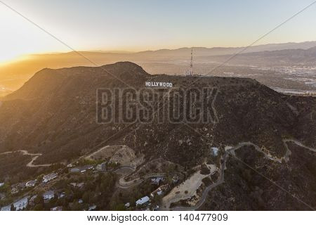 Los Angeles, California, USA - July 21, 2016:  Sunset aerial of the Hollywood Sign in Griffith Park.