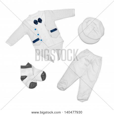 clothing for the little gentleman on white background