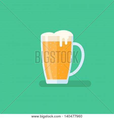 Beer mug flat style icon on green background. Vector illustration.