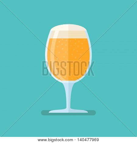 Beer goblet flat style icon on blue background. Vector illustration.