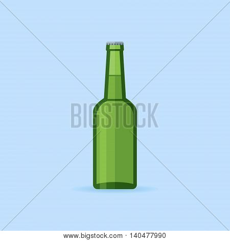 Green glass beer bottle isolated on blue background. Flat style icon. Vector illustration.