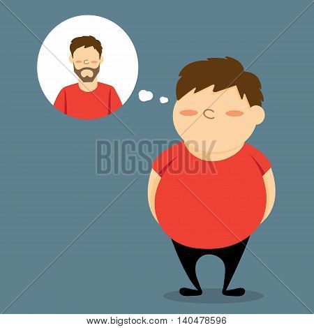 Man who is  fat wants to be slim. vector cartoon design