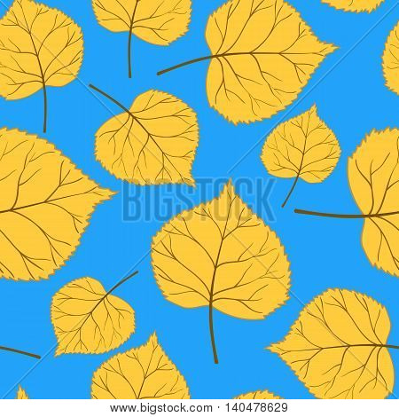 Beautiful bright autumn seamless pattern with yellow leaves on a blue background.Vector illustration.Design for web pages, cloth, textile, wrapping paper, scrapbooking, Wallpapers.
