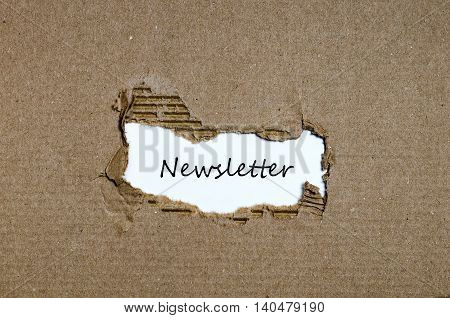 The word newsletter appearing behind torn paper