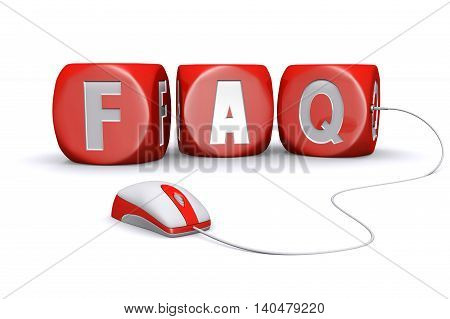 3D illustration of Mouse plug in red frequently asked questions dices on white background