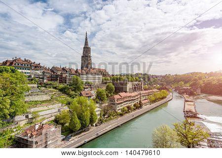 Bern city along Aare river in Bern Switzerland