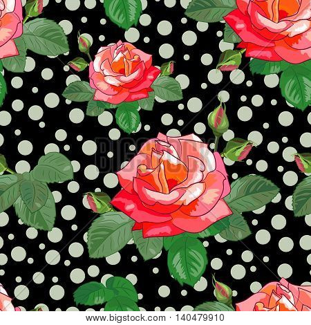Bright seamless pattern with roses, buds and leaves on a blac background with circles.Vector illustration.