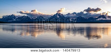 The amazing scene at Jackson Lake, Wyoming set in the Grand Teton National Park