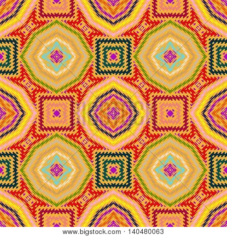 Vector seamless pattern, yellow abstract geometric background illustration, fabric textile illustration