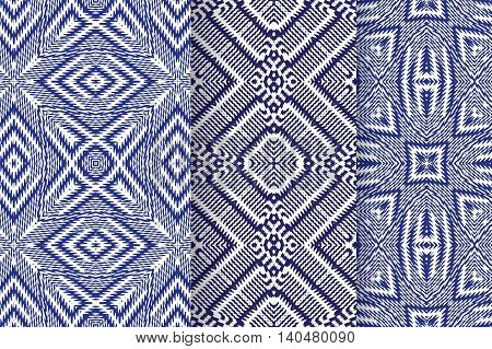 Set of 3 Abstract patterns. Seamless geometric illustration, blue cloth vector backgrounds, fabric textile pattern