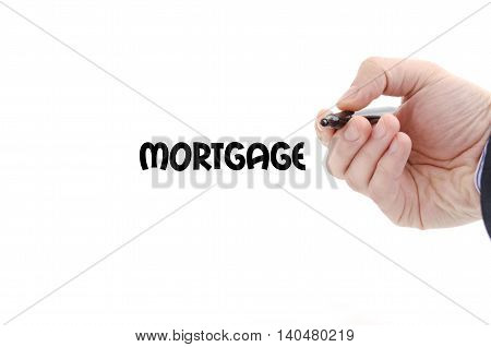 Mortgage text concept isolated over white background