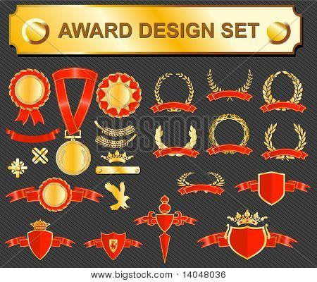 big award design set - medals, badges and laurels