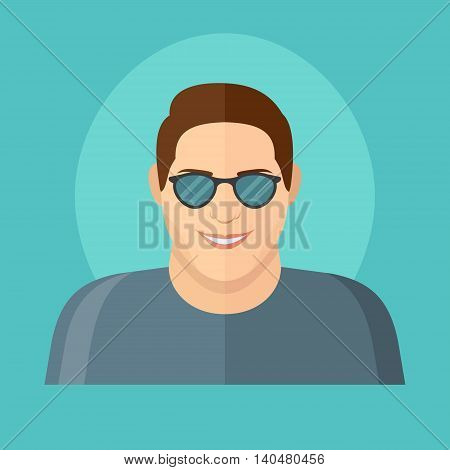 Smiling young man in sun glasses flat style icon. Male character. Man face vector illustration.