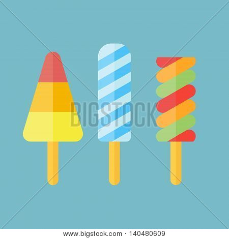 Set of ice cream in flat style. Ice lolly isolated on blue background. Popsicles vector illustration.
