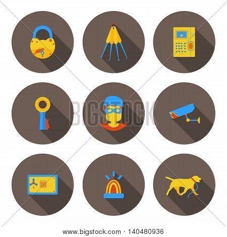 flat icons home security in vector format eps10