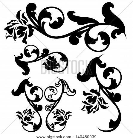 rose flowers calligraphic design - black and white vector set