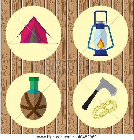 Vector icons on the theme of the campaign. On wooden background with yellow circles icons tents lamps jars axes and coils of rope
