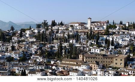 A view of spanish city Granada in a winter day