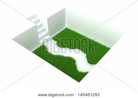 White grass pit with stairs 3d illustration horizontal