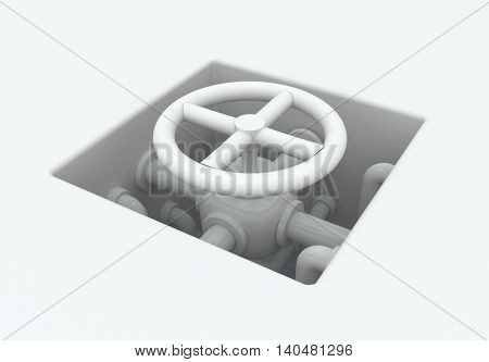 White abstract pipes valve pit 3d illustration horizontal