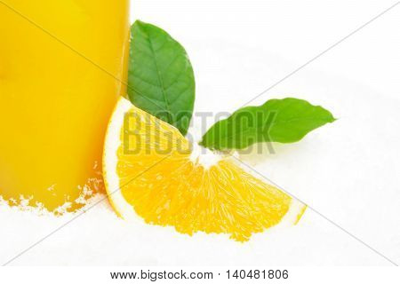 Cropped Image Of Orange Juice With Ice Cubes And Leaves On Ice O