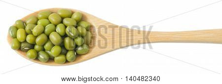 Cuisine and Food Raw and Uncooked Mung Dried Beans in A Wooden Spoon Isolated on White Background.
