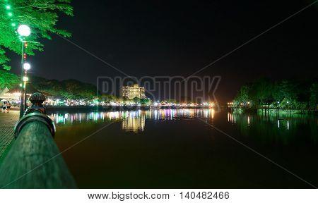 Kuching City Waterfront At Night