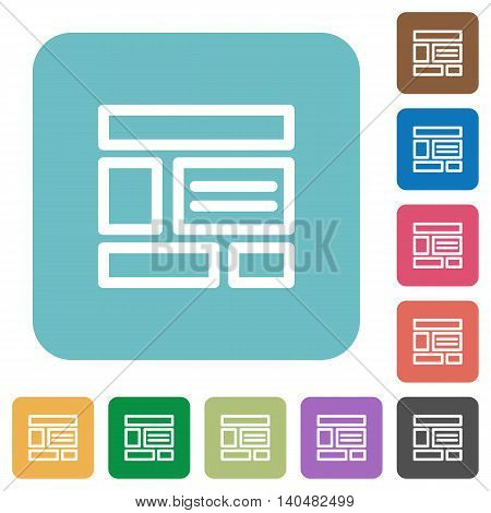 Flat web layout icons on rounded square color backgrounds.