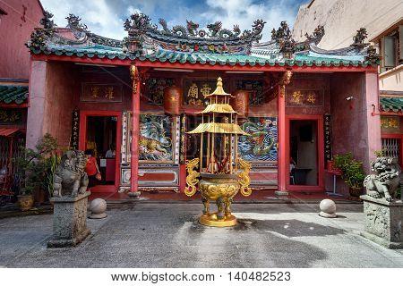 Kuching Malaysia - Dec 29 2015: Hiang Thian Diang Ti Temple in Chinatown. Sarawak. Borneo