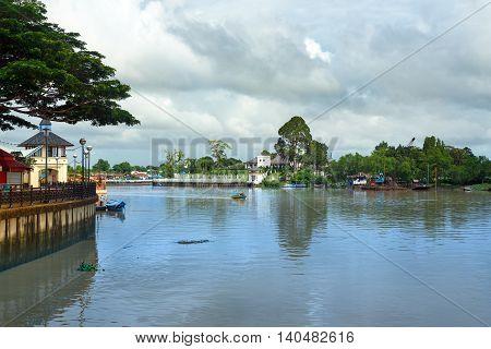 View Sarawak river from waterfront in Kuching city. Sarawak. Malaysia. Borneo.
