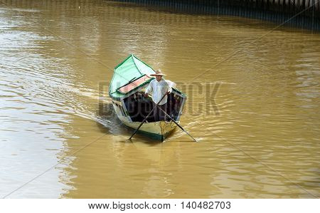 Traditional Boat On Sarawak River In Kuching City