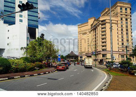 Kuching Malaysia - Dec 29 2015: On the street. Jalan Tunku Abdul Rahman road in Kuching city. Sarawak. Borneo