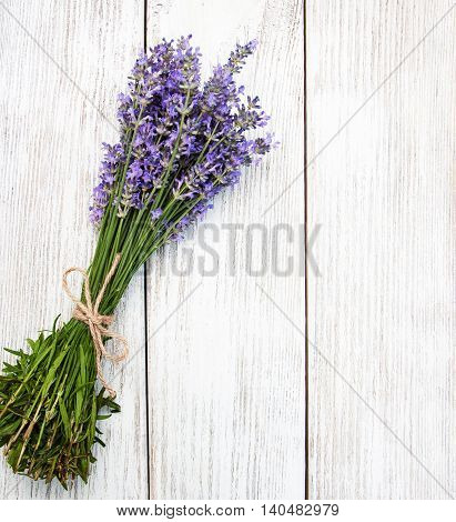 bunch of lavender on a wooden table