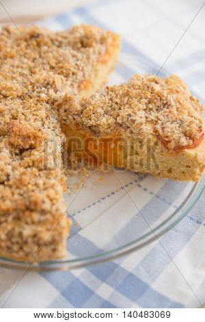 home made apricot cake with sweet almond streusel