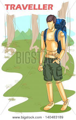 Wooden human mannequin Traveller with backpack. Vector illustration