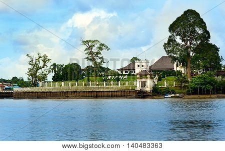 Palace Astana on the north bank of the Sarawak River. Kuching. Sarawak. Malaysia. Borneo