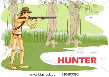 Wooden human mannequin Hunter shooting with rifle. Vector illustration