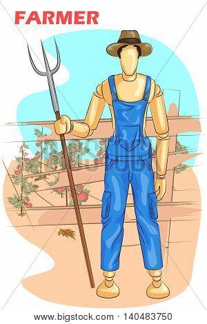 Wooden human mannequin Farmer with Garden fork. Vector illustration