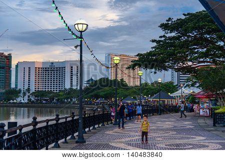 Kuching City Waterfront At Sunset
