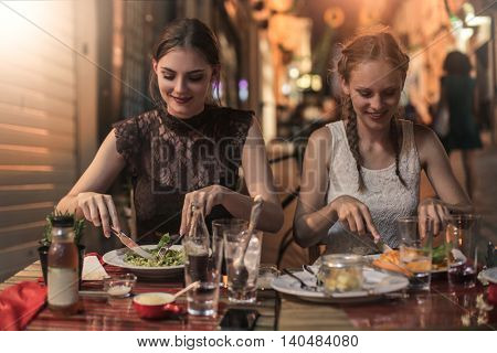 Girls eating out