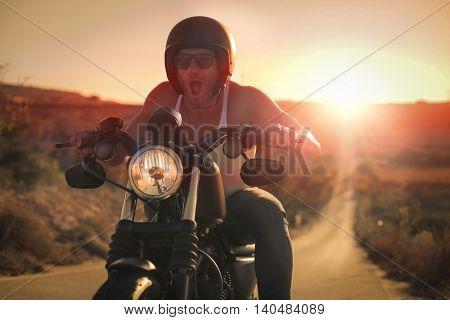 Excited biker