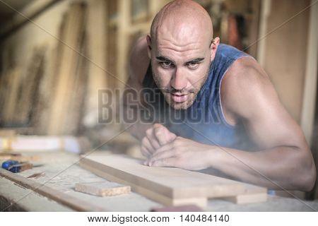 Carpenter working hard