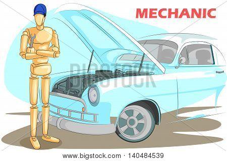 Wooden human mannequin Mechanic fixing car. Vector illustration