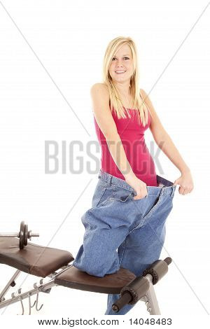 Woman On Weight Bench Big Pants