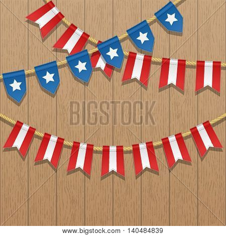Vector colorful bunting decoration in colors of USA flag on a wooden background. Garland pennants on a rope for american party carnival celebration. Patriotic illustration with stars and stripes.