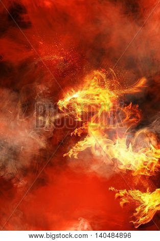 Abstract Angry red fiery dragon with hot background