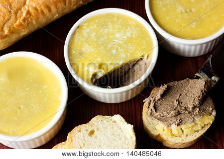 Liver pate with butter. French pate. Sandwich with pate